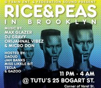 Brooklyn tonight. @riceandpeasparty. @maxglazer. @djgravy. @brianorijahnal. @micro_don_daddy. @daoudsun. @jahbanks. @mslikklebit. @iamtecla. @gazootothemoon. @tutusbrooklyn – 25 Bogart Street.