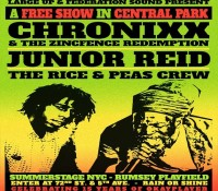 New York City, we would like to invite you to a FREE concert in Central Park on Saturday, July 26th with @chronixxmusic and the Zincfence Redemption, Junior Reid and @riceandpeasparty. @summerstagenyc. summerstage14. Please share and repost.