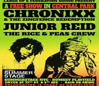 Today's the day. Gates open 2 pm. @chronixxmusic and the Zincfence Redemption, Junior Reid and the @riceandpeasparty crew live @summerstagenyc brought to you by @federationsound, @largeupdotcom and @okayplayer. It's a free show, so roll out early!