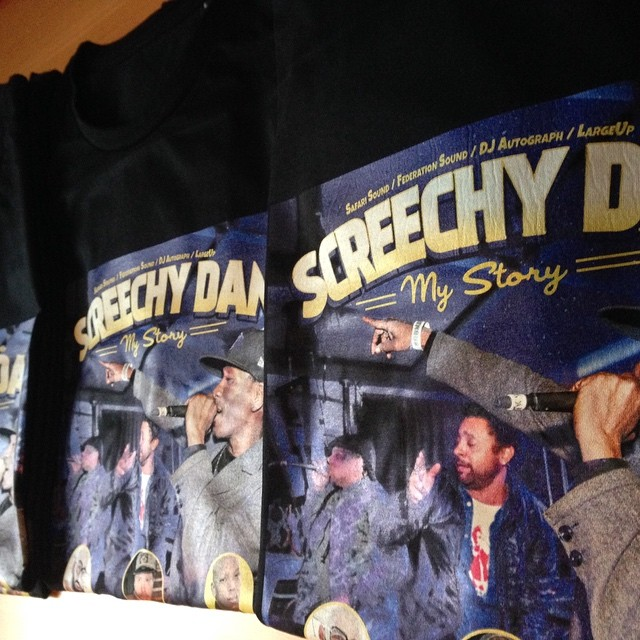 Big up our good friend @sammyksafari from @safarisound making these wicked shirts for the @screechydan mystory release party at @bnmnyc this Thursday at @thedelancey 168 Delancey st nyc.