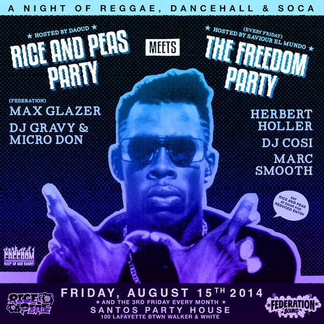 Friday. @riceandpeasparty meets @freedompartynyc inside @santospartyhouse.