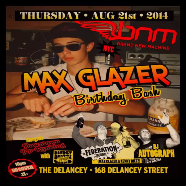 It's all about @bnmnyc tonight as we celebrate @maxglazer's birthday with non stop dancehall reggae music @thedelancey - 168 Delancey street. Music by @federationsound, @djautograph and special guest @danyneville passing through. @deadlydragon in the basement with downtowntopranking. 10 pm. FREE all night. $5 Red Stripe and run drinks until 11. ilovemylife.