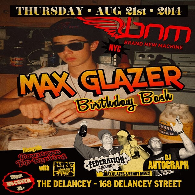 NYC - Thursday it's all about @maxglazer's birthday bash inside @bnmnyc. Roll out and celebrate with us @thedelancey - 168 Delancey Street. Doors at 10 pm. No cover all night. $5 Red Stripe and rum drinks until 11. Downtown Top Ranking with @deadlydragon @thequeenmajesty @mrkdeadlydragon in the basement.