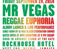Negril link up! @mrvegasmusic Reggae Euphoria album launch and live performance @rockhousehotel with music by @maxglazer – Friday, September 19th. Book your plane ticket and a room now!