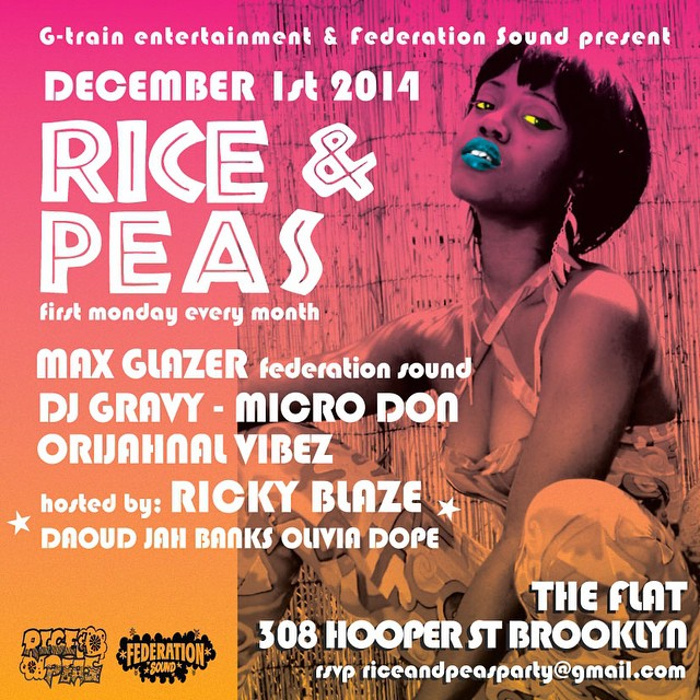 Monday, the @riceandpeasparty returns to Brooklyn with @rickyblazetv @maxglazer @djgravy @micro_don_daddy @brianorijahnal @daoudsun @jahbanks @oliviadope_. The Flat - 308 Hooper Street.