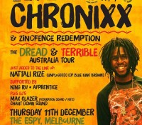 Melbourne, Australia. Tonight. @chronixxmusic. Zinc Fence Redemption. @maxglazer. @nattalirize. @grindinoz. The Espy. dreadandterrible. outdeh. federation15. federationsound. federation. maxglazer.