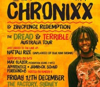 Sydney, Australia tonight – @chronixxmusic and Zinc Fence Redemption x @maxglazer X @nattalirize (of @bluekingbrown) x Apprentice x Jamrock Sound x Foreigndub x Kween G live at The Factory, brought to you by @grindinoz. dreadandterrible. outdeh. federation15. federationsound. federationinvasion. federation.